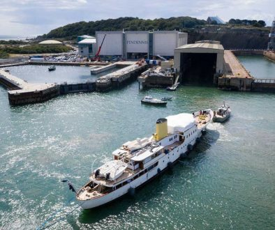 Marala entering Pendennis Shipyard image credit Jake Sugden