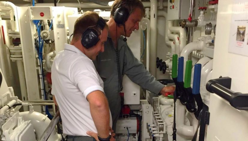 superyacht engineers at work - showing leadership to represent the John Percival leadership awards
