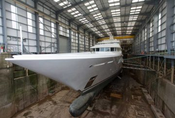 Lady E in dry dock at Pendennis