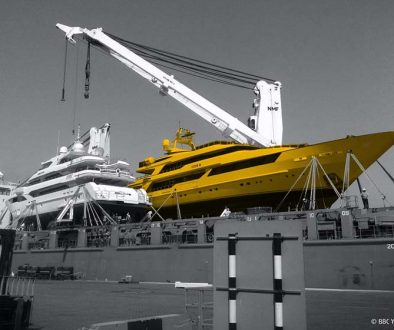 GAC Pindar and BBC Yacht Transport image of a superyacht on a ship