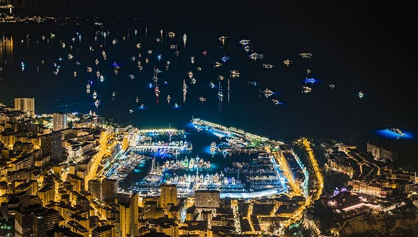 View of the Monaco yacht Show at night